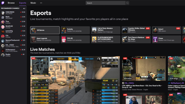 Dedicated directory for esports launched by Twitch