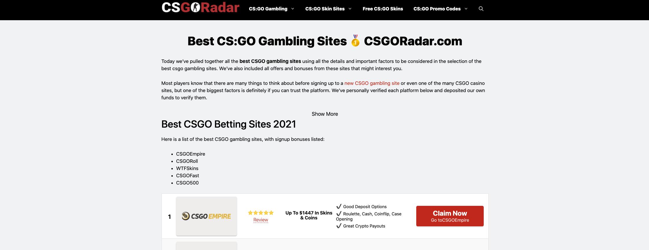 Finding CSGO Gambling Sites with CSGORadar